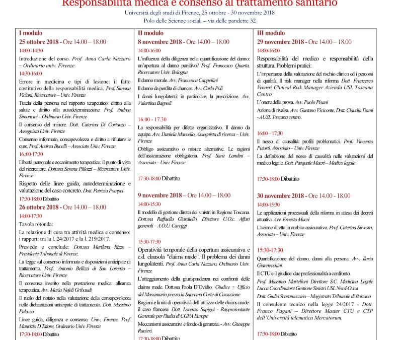 Corso di perfezionamento post laurea: responsabilità medica e consenso al trattamento sanitario