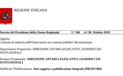 Decreto del Presidente della Giunta Regionale N° 160 del 30 Ottobre 2019